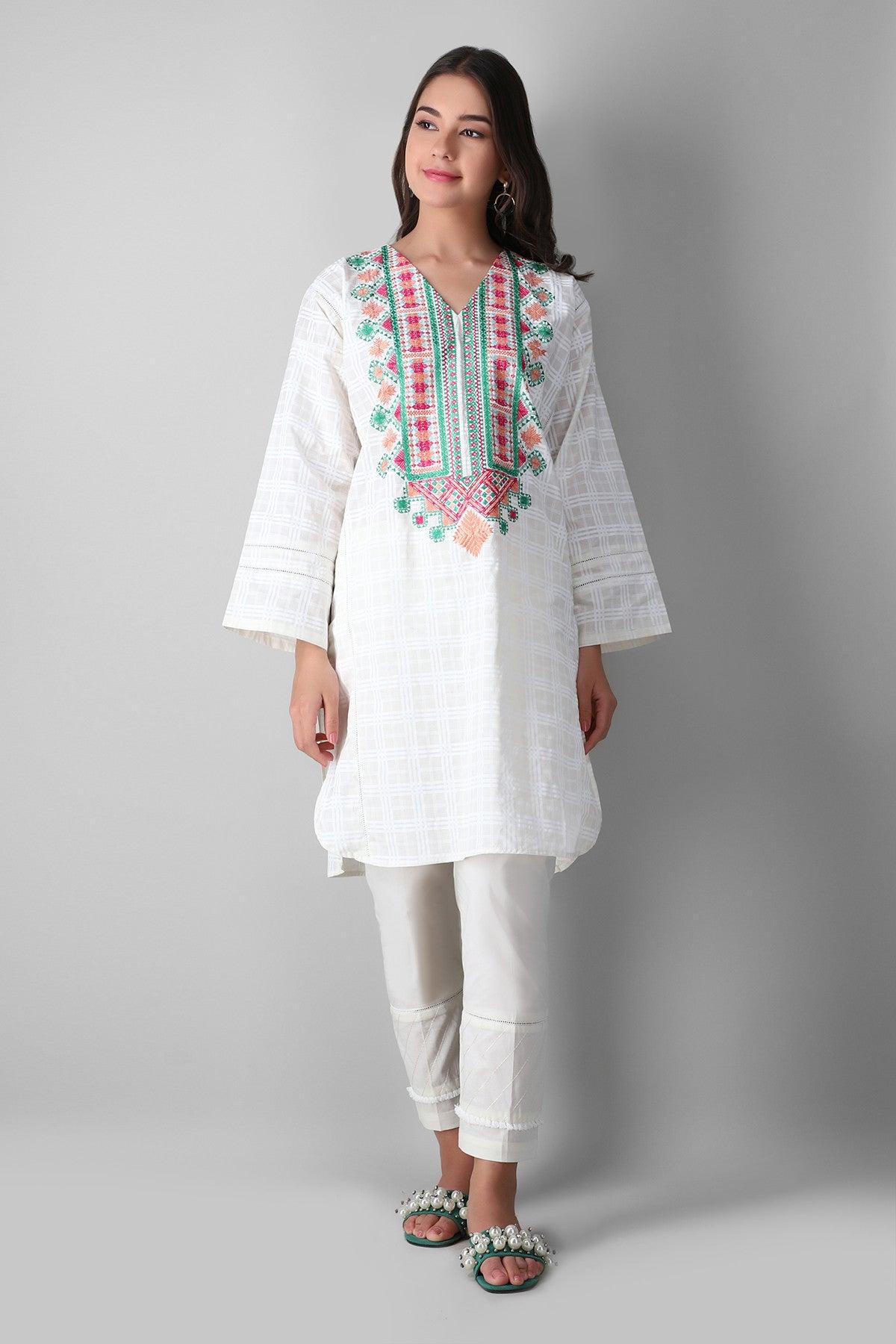 Khaadi Eekppe21202 White Ready to Wear 2021