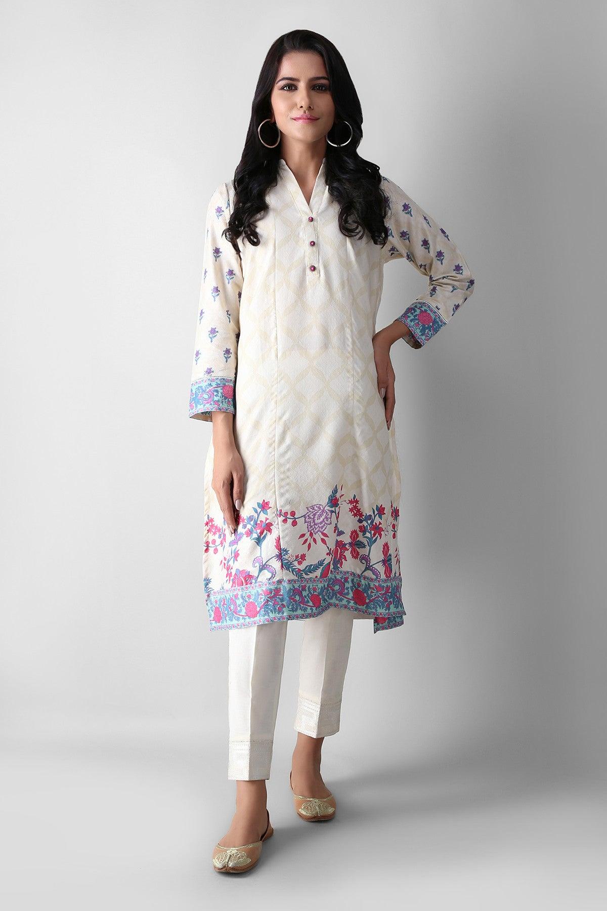 Khaadi Eetpe21206 Off White Ready to Wear 2021
