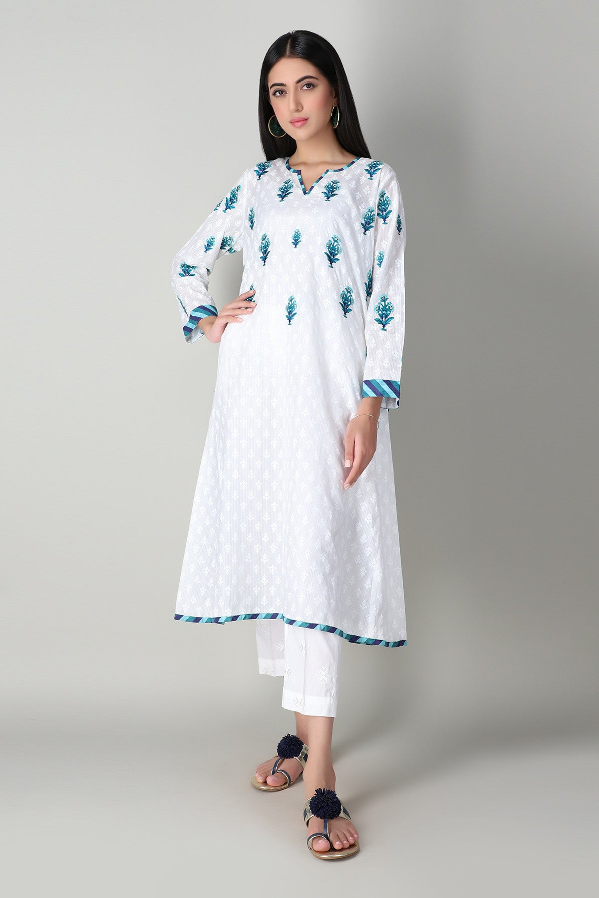 Khaadi ETPE20304 WHITE Pret