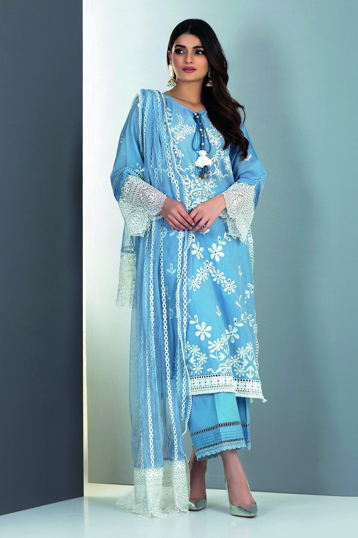 Khaadi Hs21202 Blue Festive Collection 2021