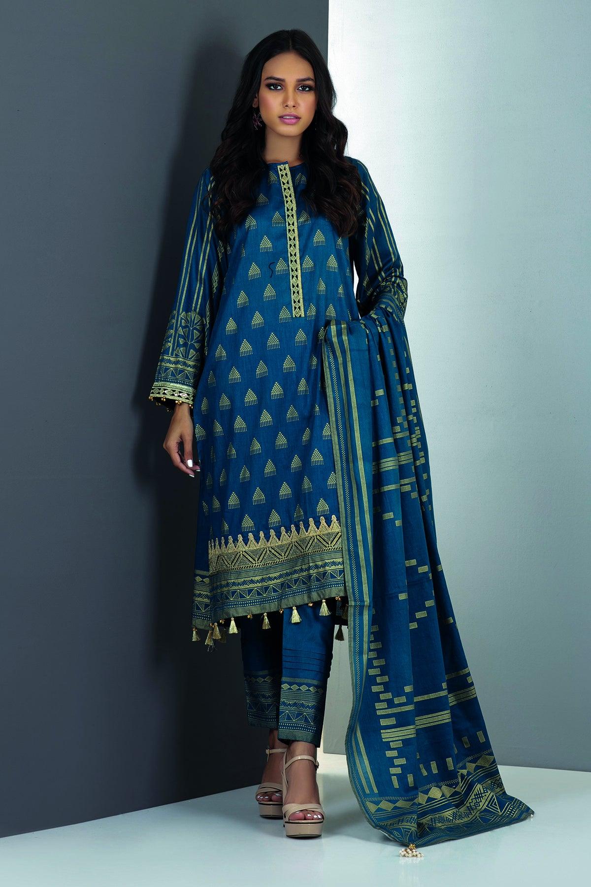 Khaadi K21208 Blue Festive Collection 2021